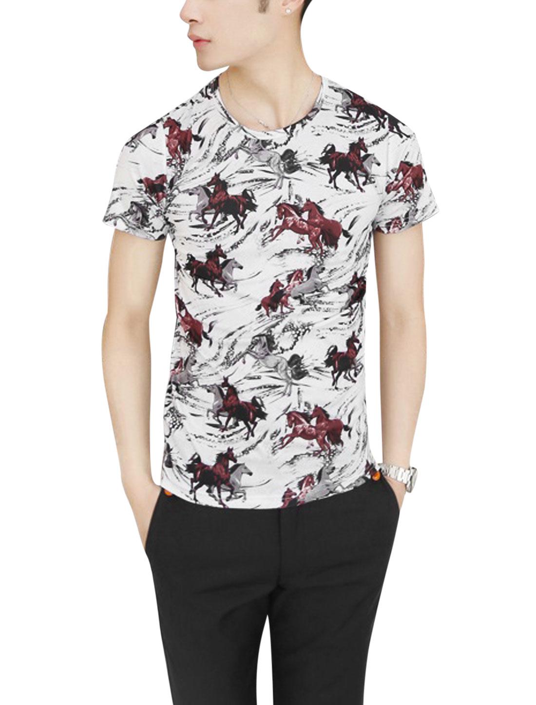 Men Round Neck Short Sleeve Horse Prints T-Shirt Gray Burgundy S