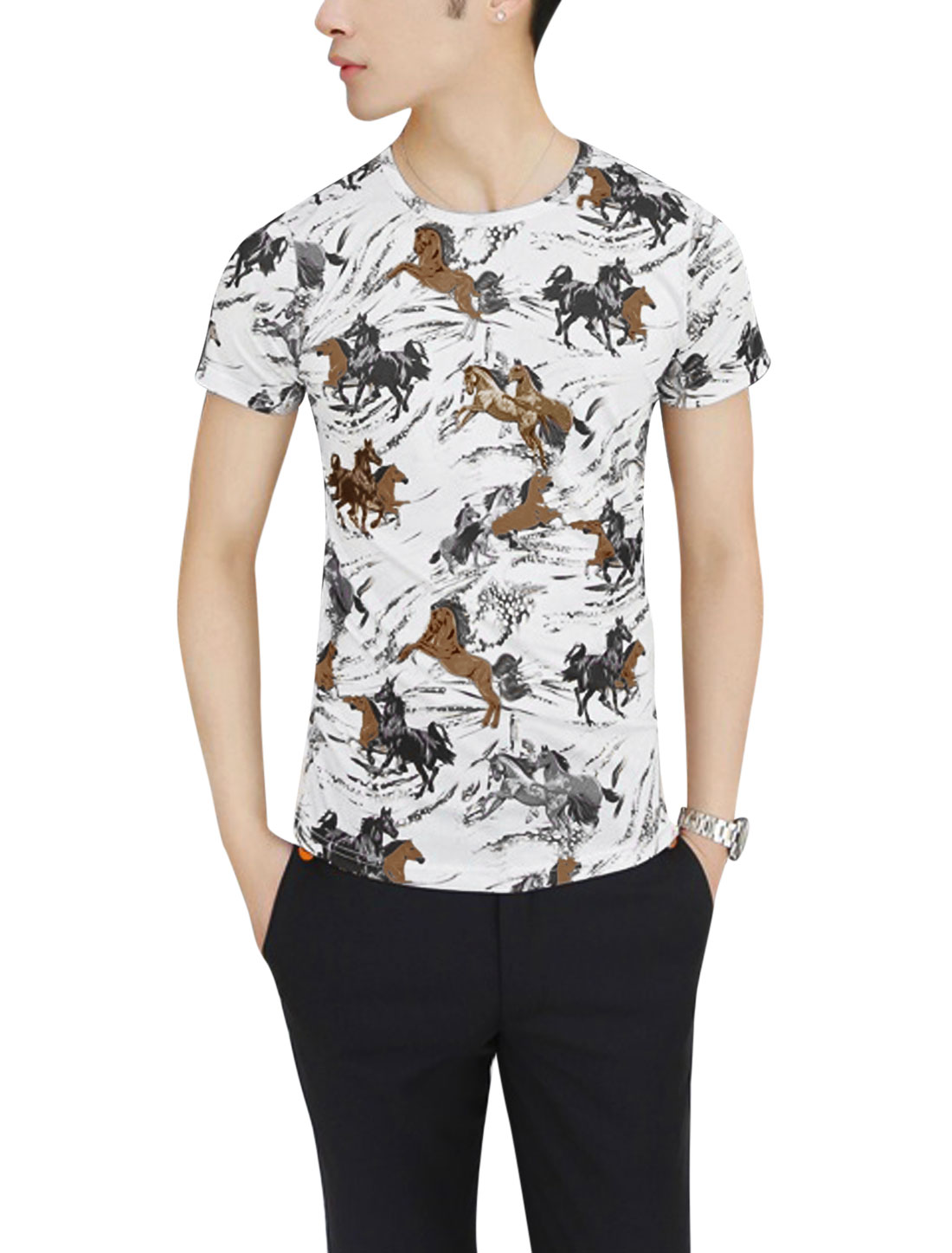 Men Summer Short Sleeve Horse Prints T-Shirt Gray Sand S
