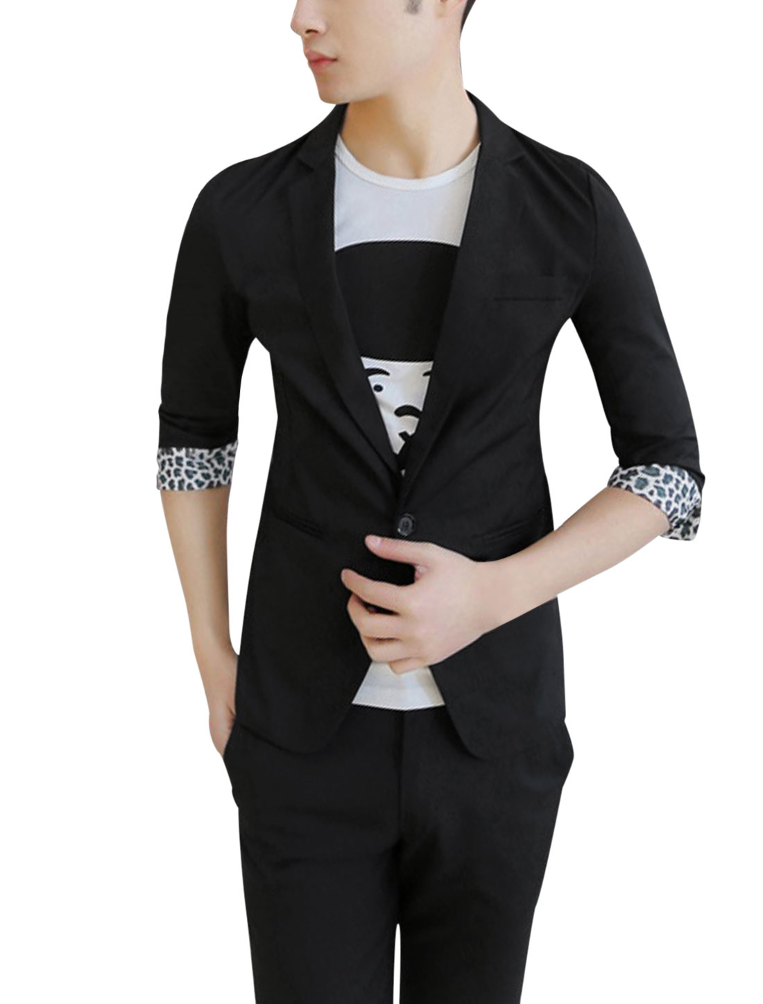 Men Notched Lapel 3/4 Sleeve Leopard Prints Cuffs Casual Blazer Black S