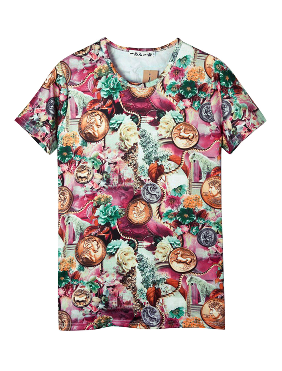 Men Round Neck Short Sleeve Floral Coin Print Casual T-Shirt Multicolor S