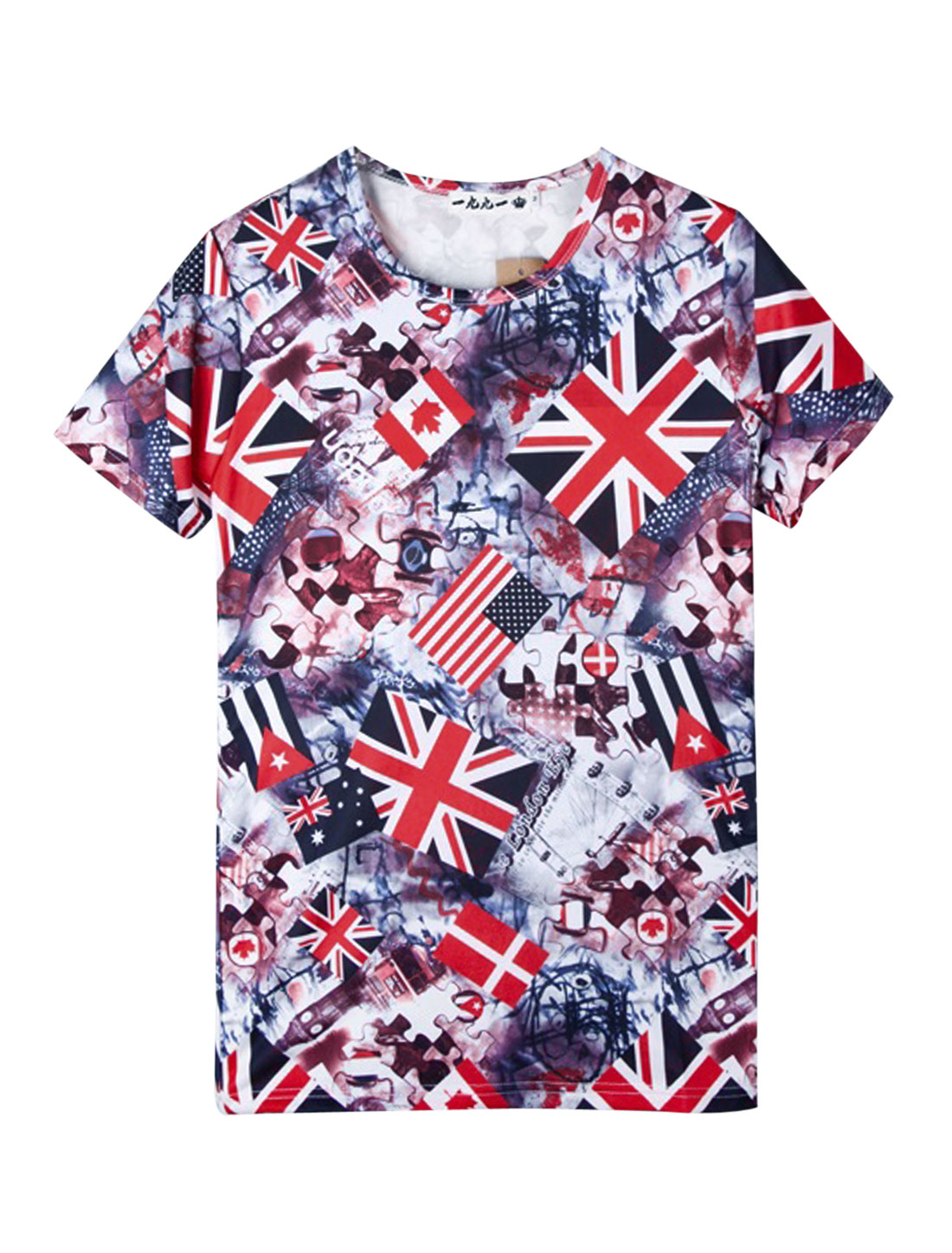 Men Short Sleeve Novelty Prints British Flag Prints Tee Multicolor S