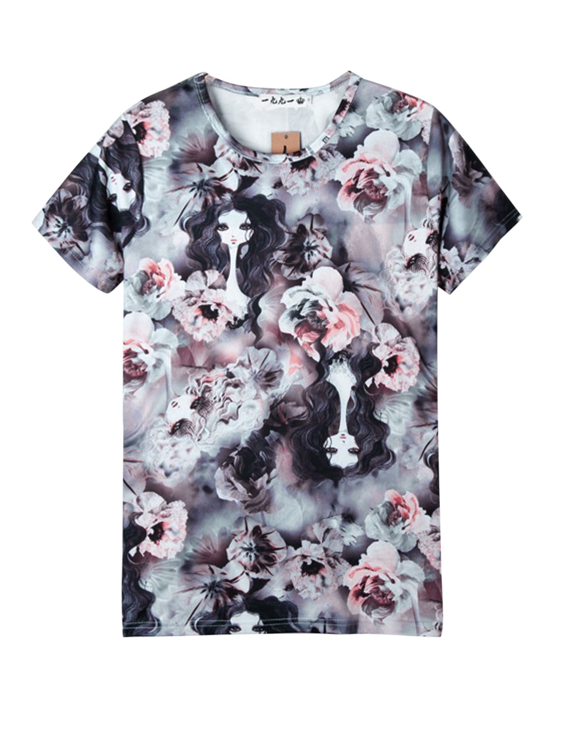 Men Casual Short Sleeve All Over Floral Prints T-Shirt Multicolor S