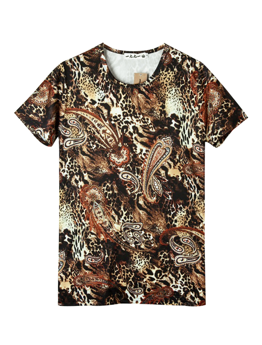 Men Casual Round Neck Short Sleeve Leopard Prints T-Shirt Multicolor S