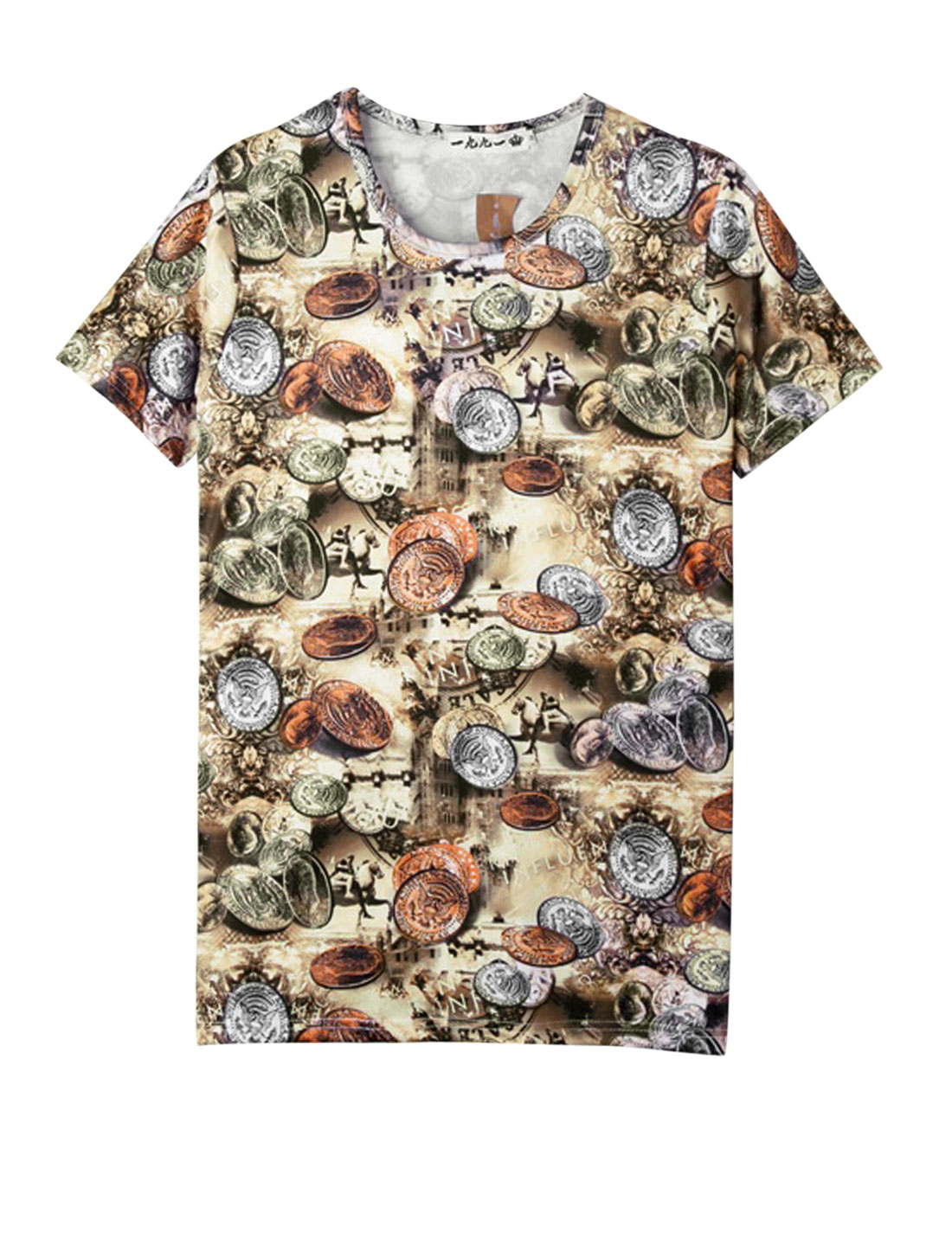Men Casual Round Neck Short Sleeve Coin Prints T-Shirt Multicolor S