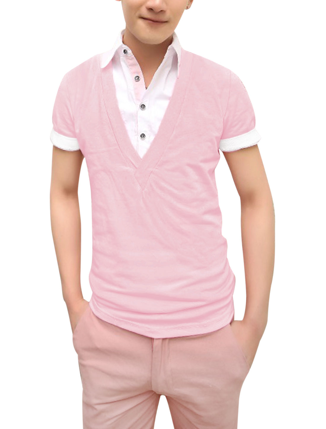 Men Short Sleeve Panel Design Fake Two Pieces Polo Shirt Pink S