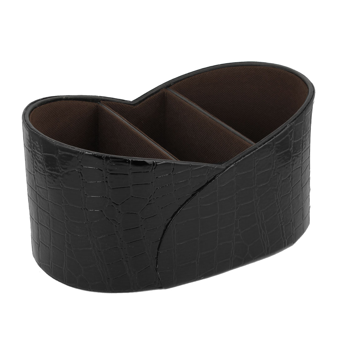 Black Crocodile Print Faux Leather Ornament Storage Basket Holder