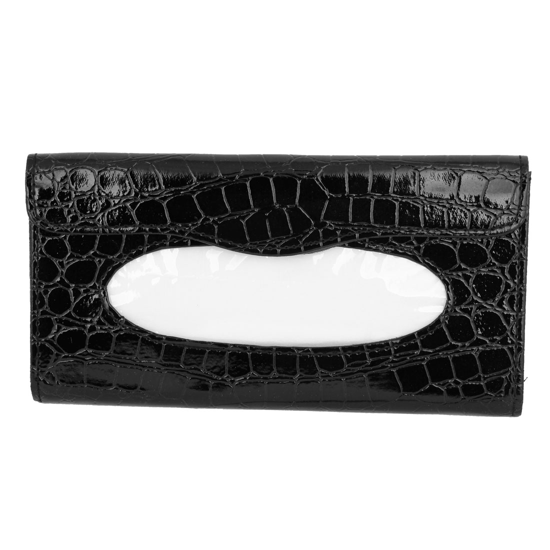 Car Black Crocodile Pattern Tissue Box Holder Paper Napkin Case