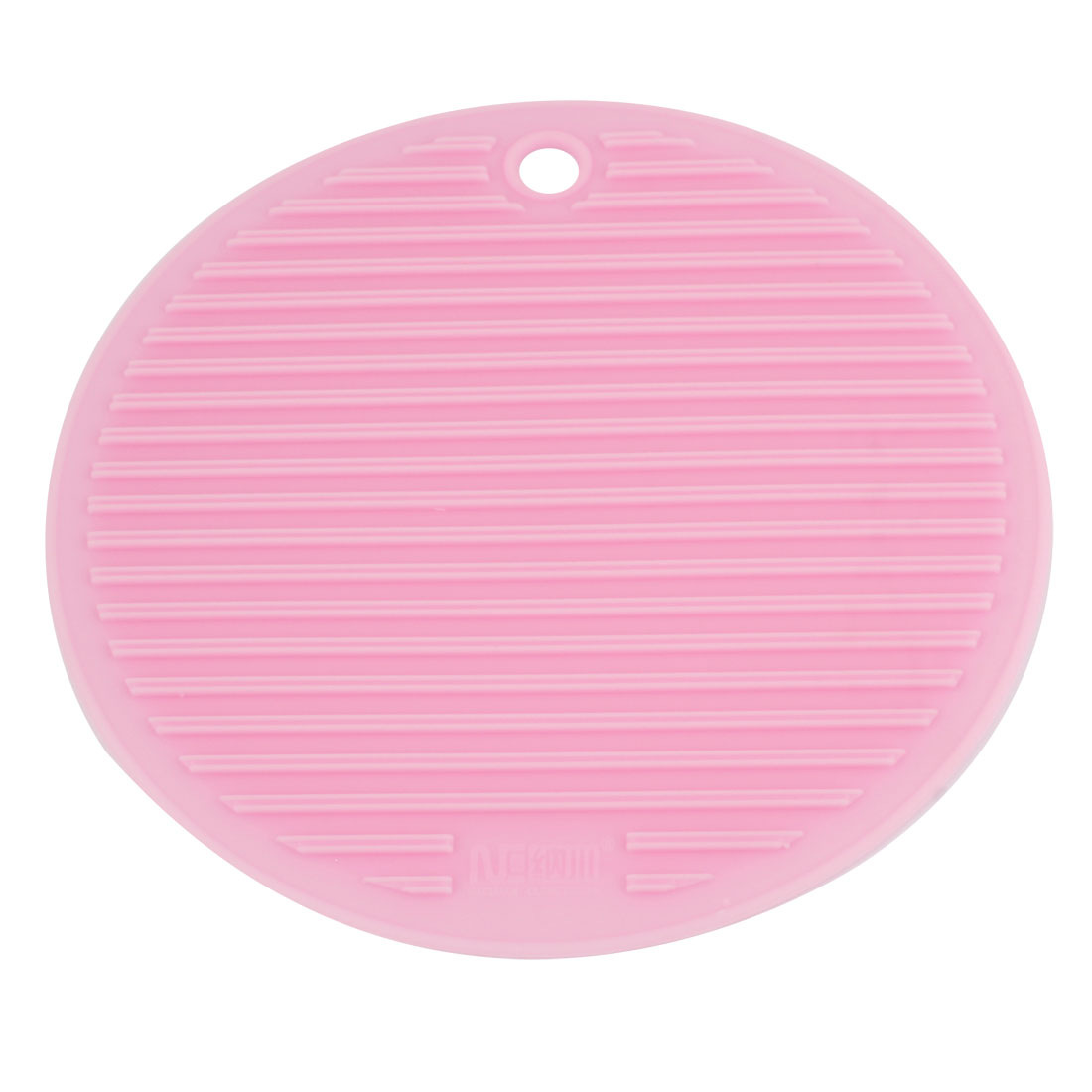 17.5cm Dia Round Pink Rubber Stripes Nonslip Bowl Cup Mat Coaster Pat