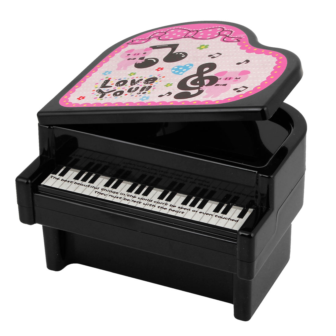 Household Black Plastic Piano Design Coin Saving Piggy Bank Holder