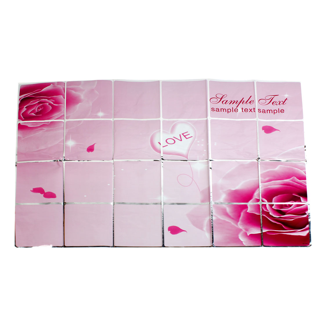 Kitchen Decal Magenta Rose Pattern Decor DIY Aluminium Foil Wall Sticker 60cmx90cm