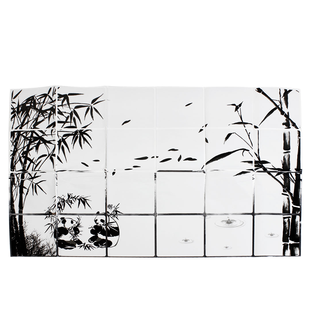 Kitchen Sheet Black White Bamboo Panda Print Hot-Proof Wall Sticker Decal 60cmx90cm