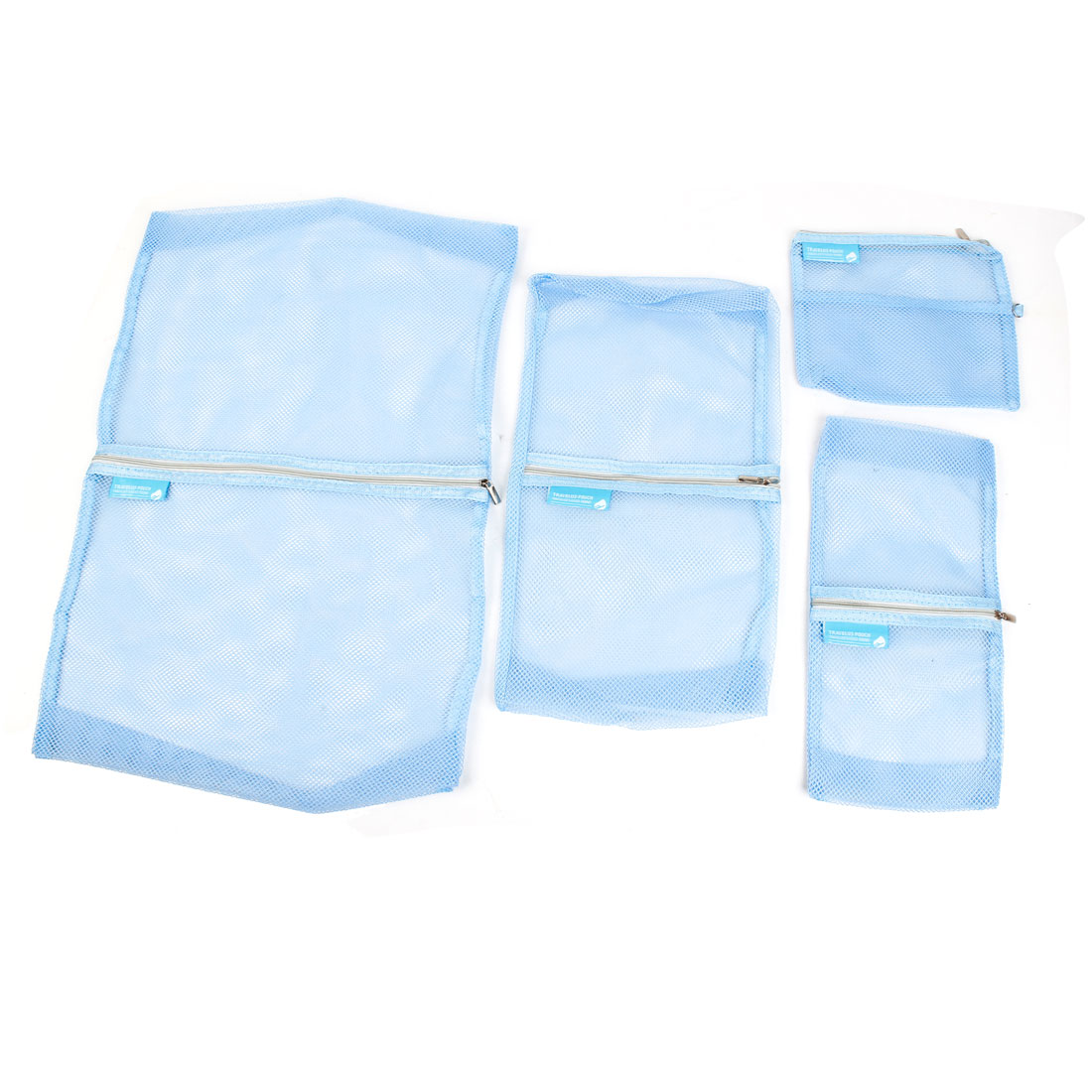 4 in 1 Blue Meshy Design Travel Zippered Storage Bag Pouch Sets