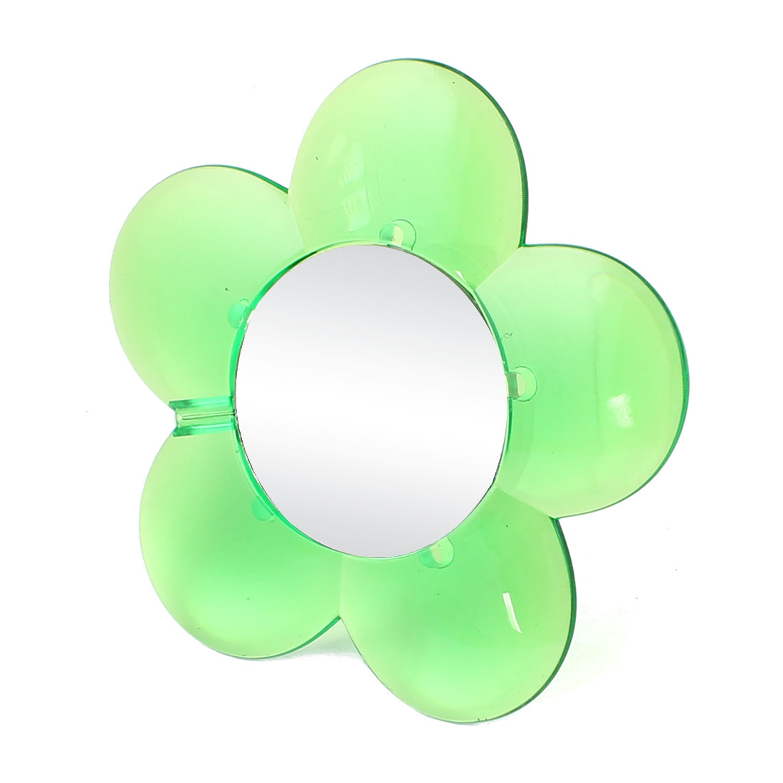 Clear Green Suction Cup Base Flower Shaped Mini Cosmetic Mirror for Lady