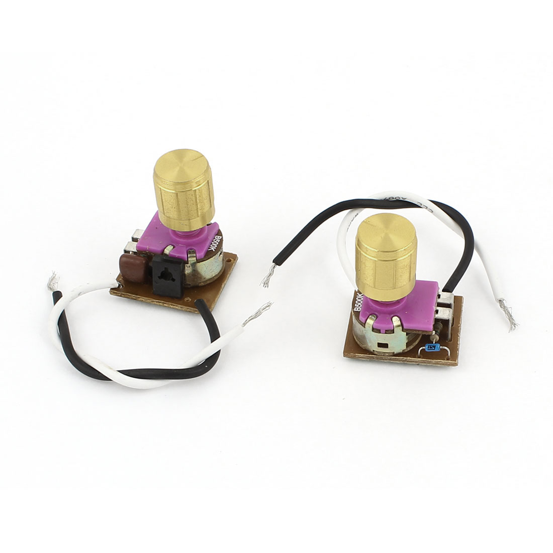 2Pcs AC220V 1-3A 2-Wire Gold Tone Rotatable Knob Desk Lamp Dimmer Switch