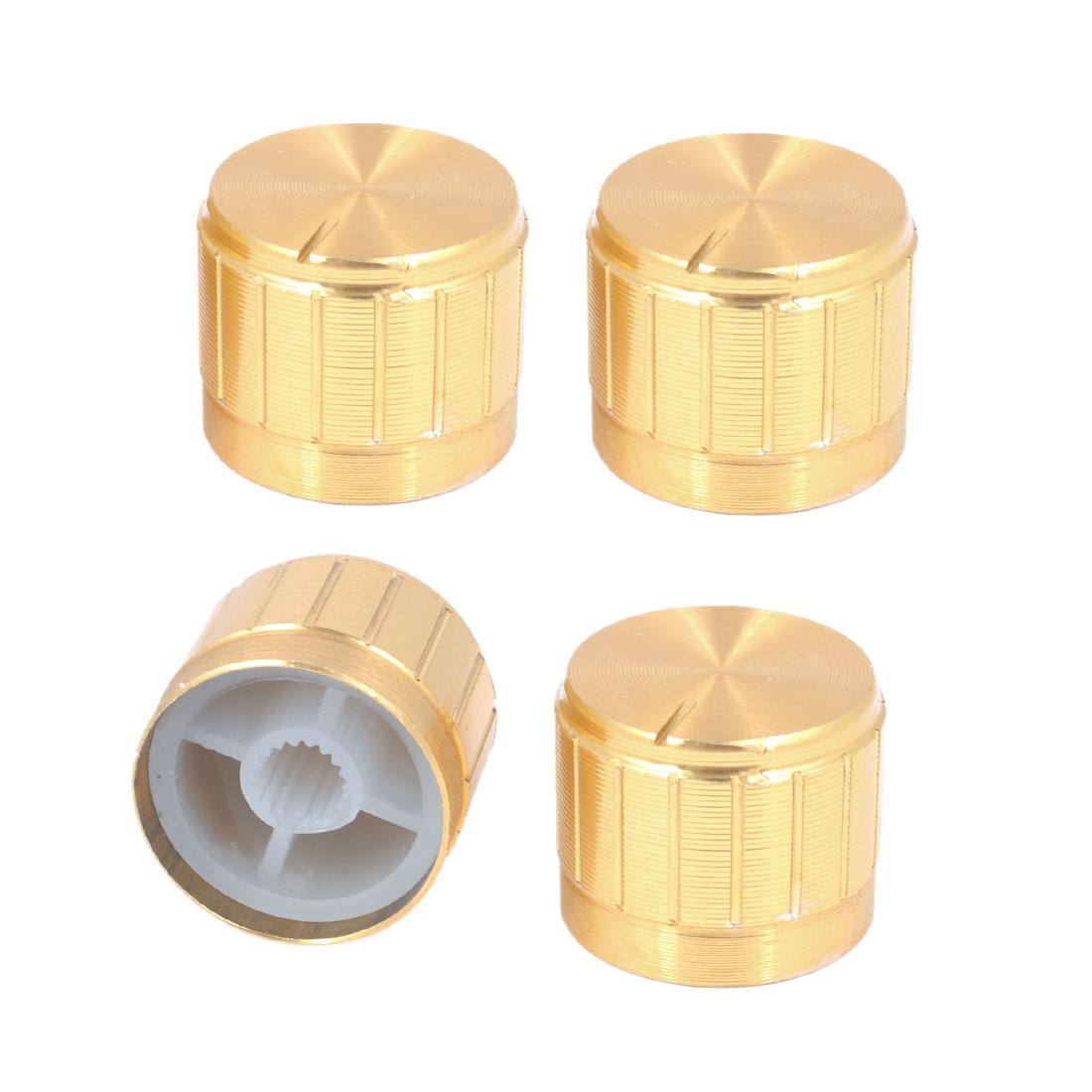 4pcs 21mm x 17mm Gold Tone Aluminum Potentiometer Knobs