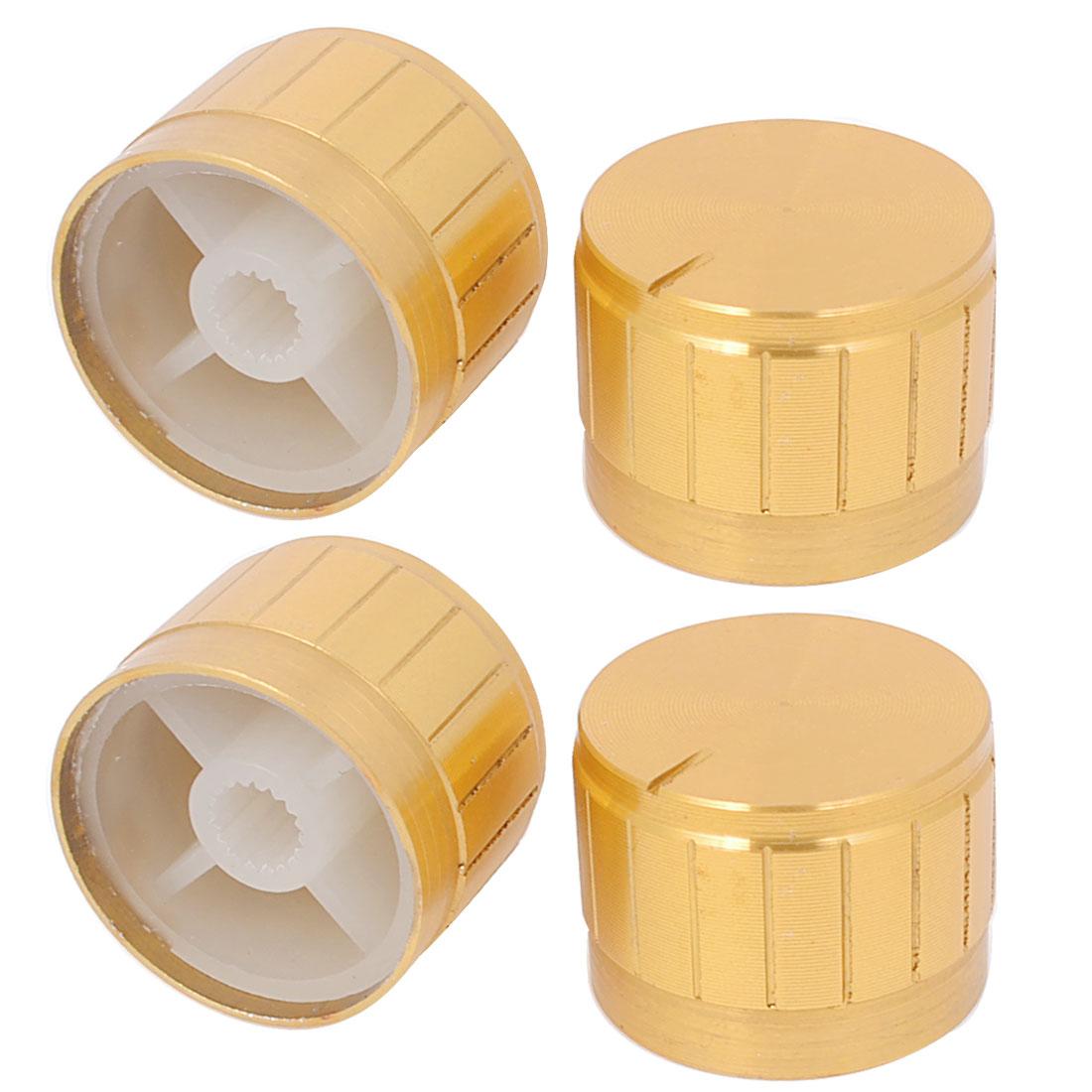 4Pcs 6mm Inner Diameter 23mm Knobs Gold Tone for Potentiometer