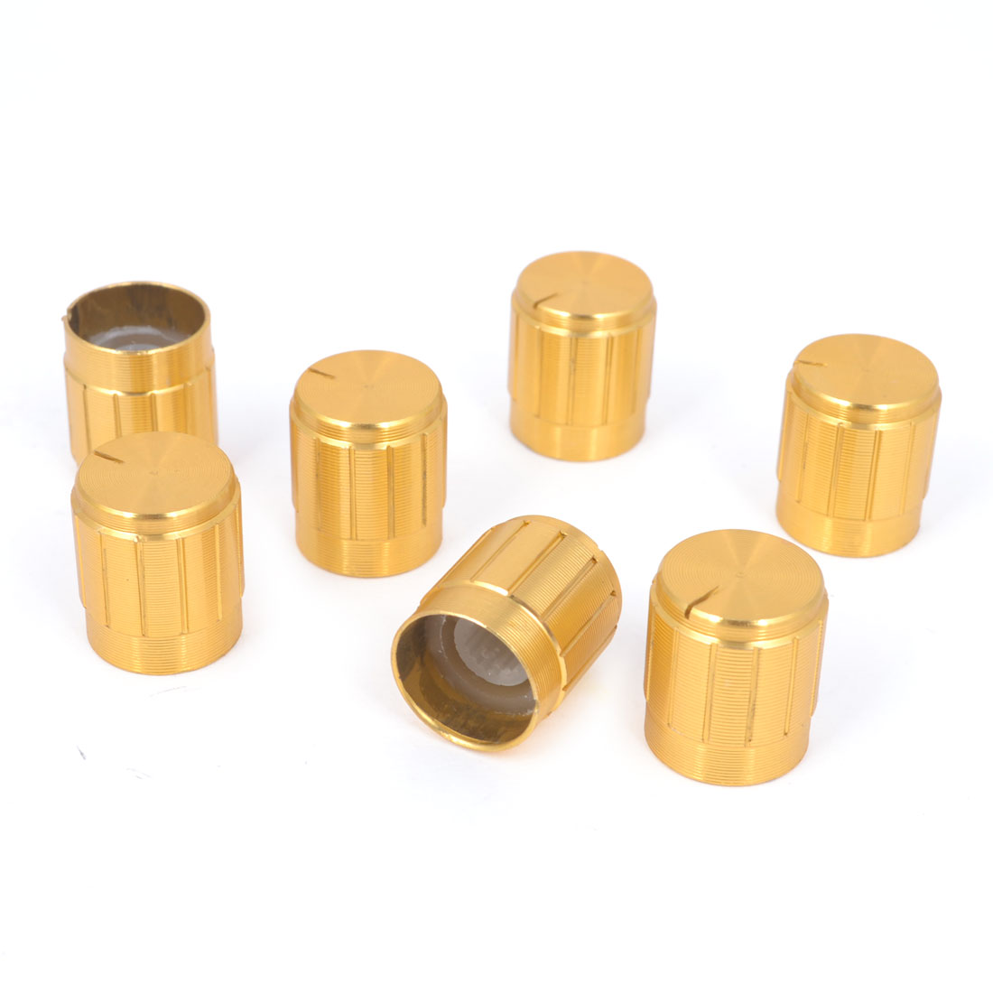 15mm x 17mm Gold Tone Aluminum Potentiometer Knobs 7Pcs