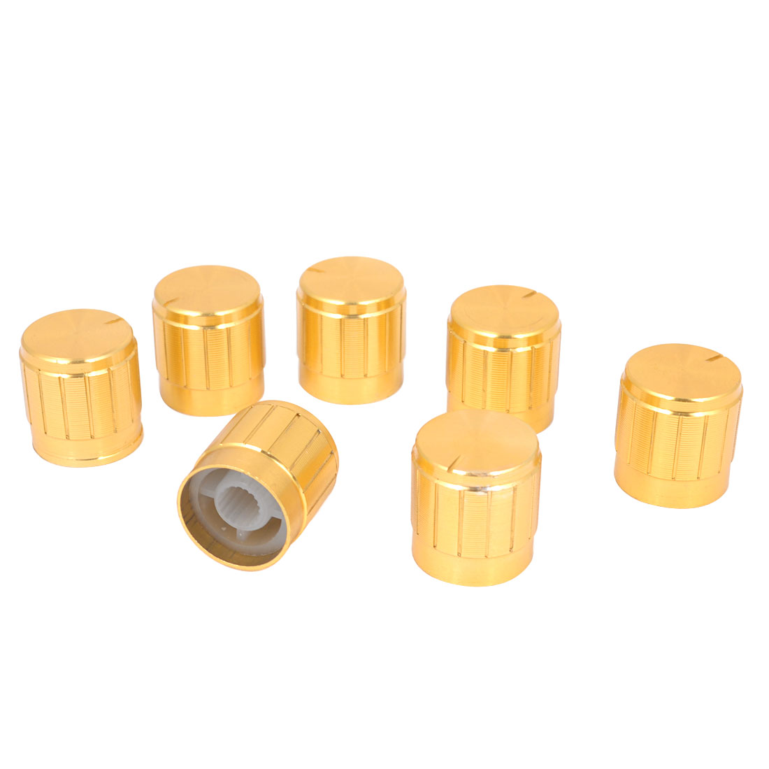 7 Pcs Gold Tone 17mm x 17mm Rotary Potentiometer Knobs Caps