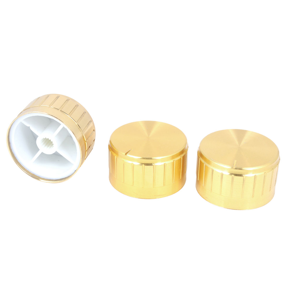 30mm x 17mm Gold Tone Aluminum Potentiometer Knobs 3 Pcs