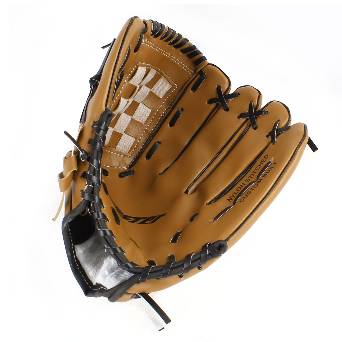 "Unisex Left Handed Brown Faux Leather Baseball Glove 9.5"" for Adult Fielder Players"