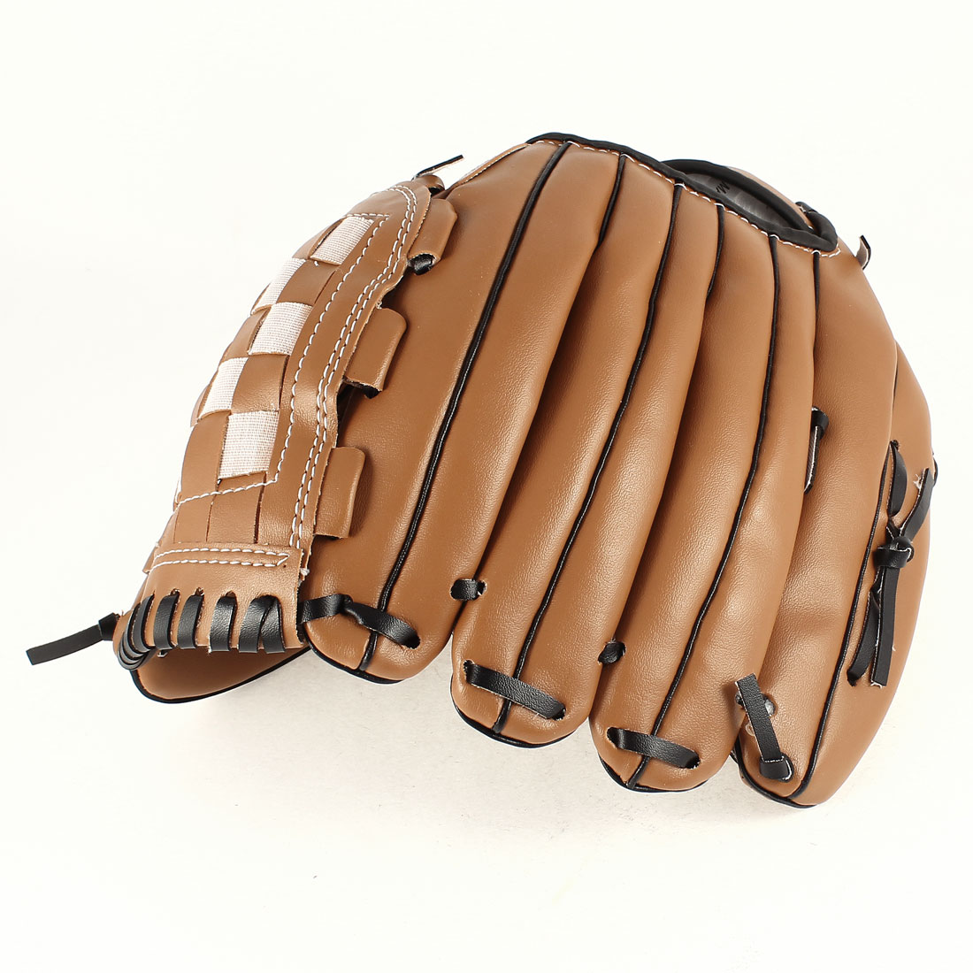 "Brown Faux Leather Left Glove Mitt 11.5"" Length for Baseball Fielders Players"