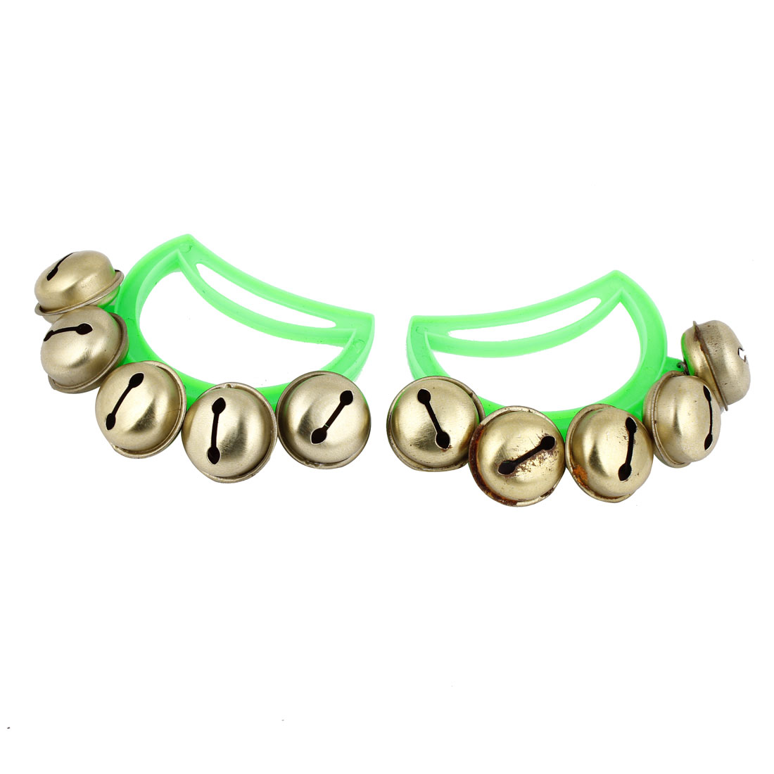 2 Pcs Xmas Party Green Plastic Handle Hand Shaking Gold Tone Jingling Bells