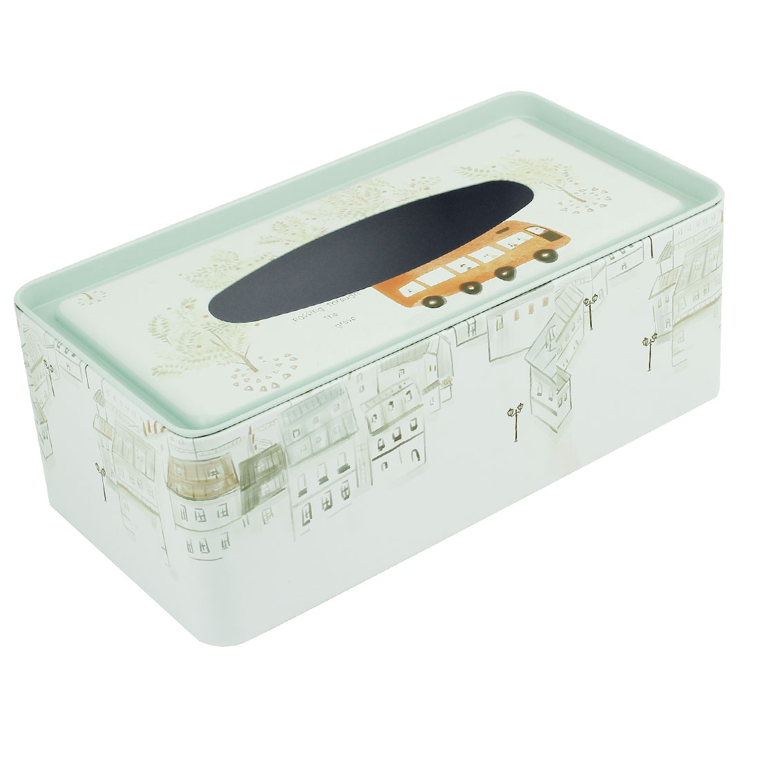 House Tree Pattern Rectangular Pale Green White Metal Paper Tissue Case Box