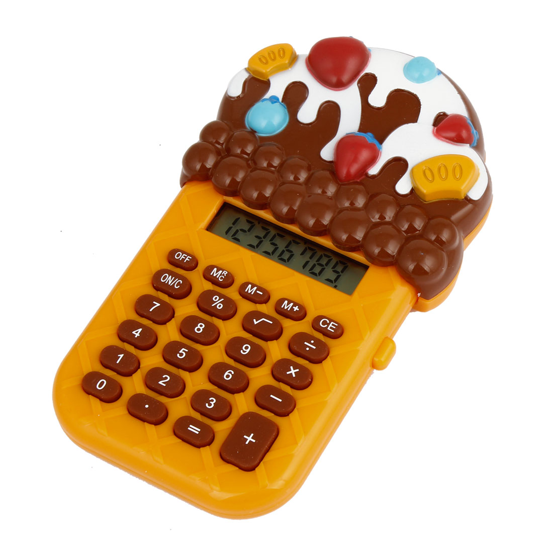 Portable Yellow Brown Ice Cream Shape Decor 8 Digits Electronic Calculator