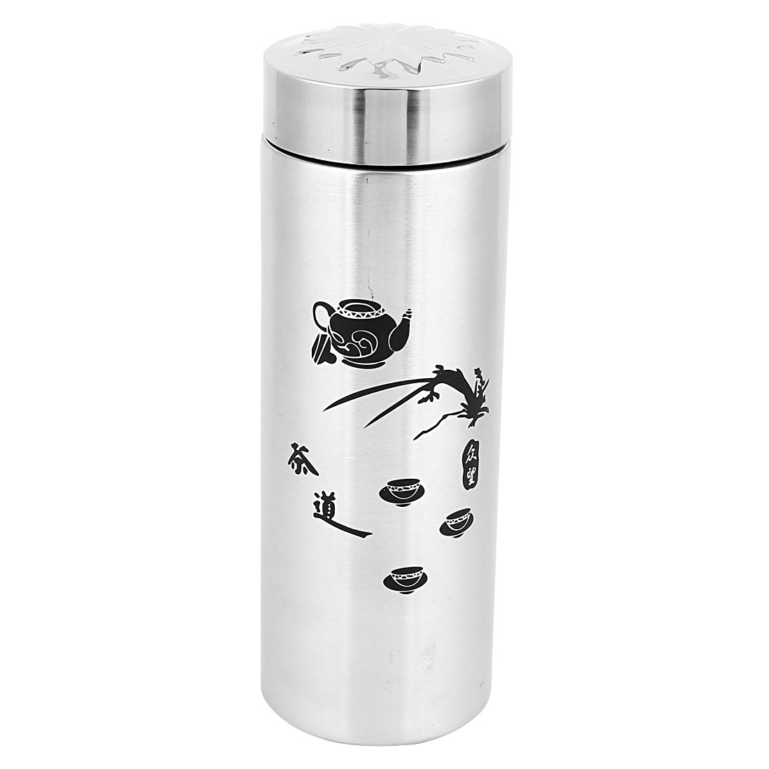 Travel 420ml Capacity Vacuum Flask Water Double Stainless Steel Cup Silver Tone