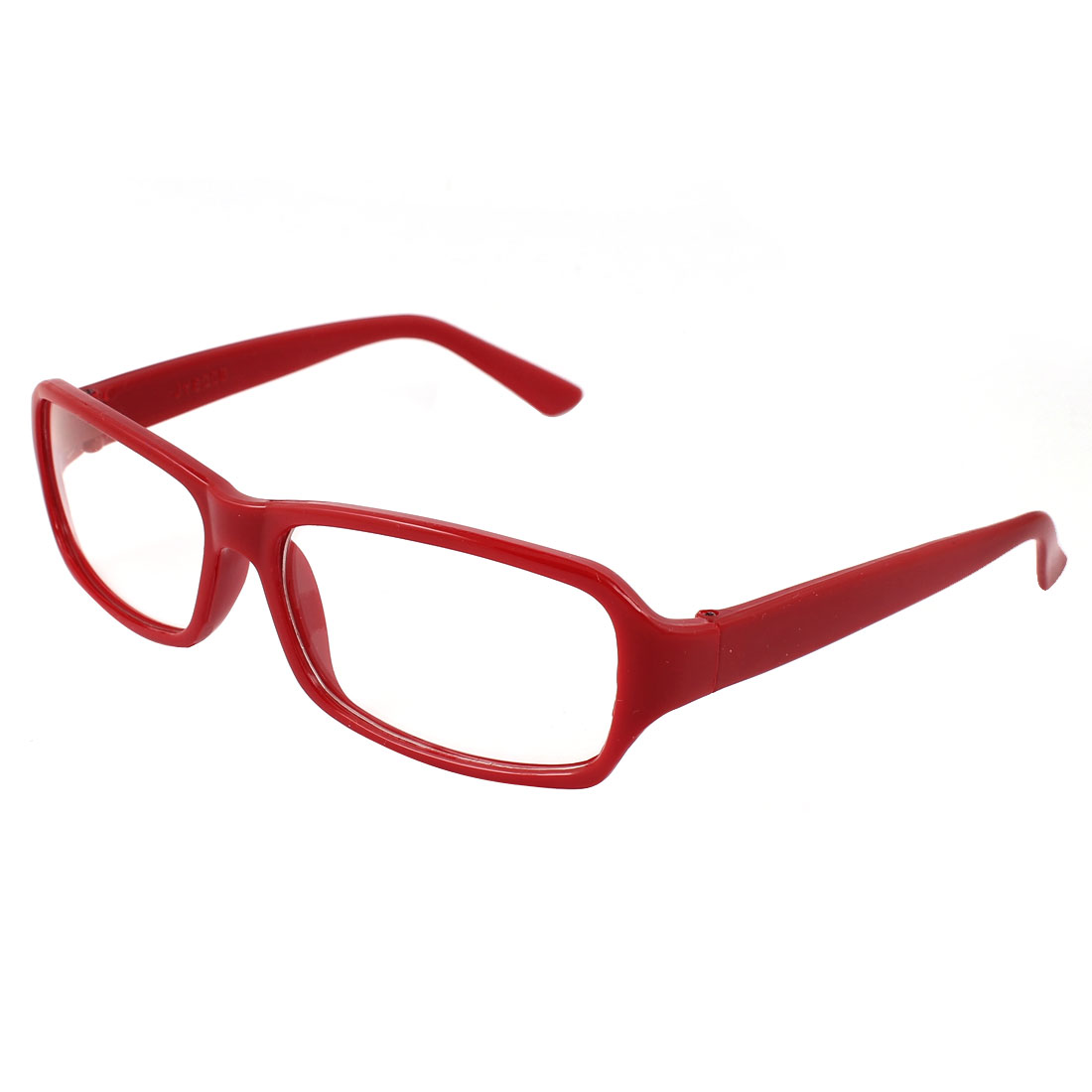Clear Rectangular Lens Burgundy Plastic Full Rim Spectacles for Women