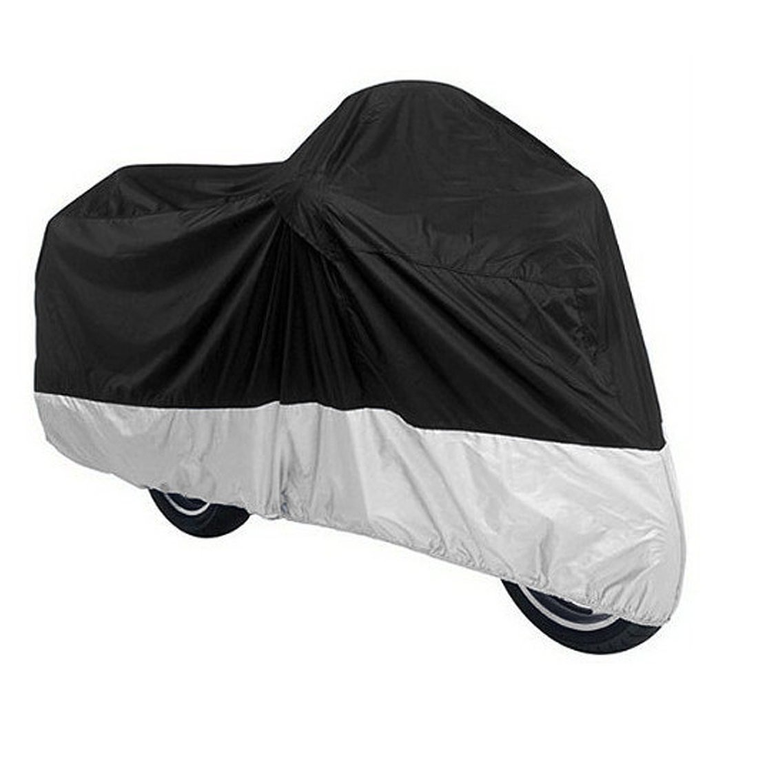 Silver Tone Black Motorcycle 190T Rain Resistant Protective Cover 245cm Long