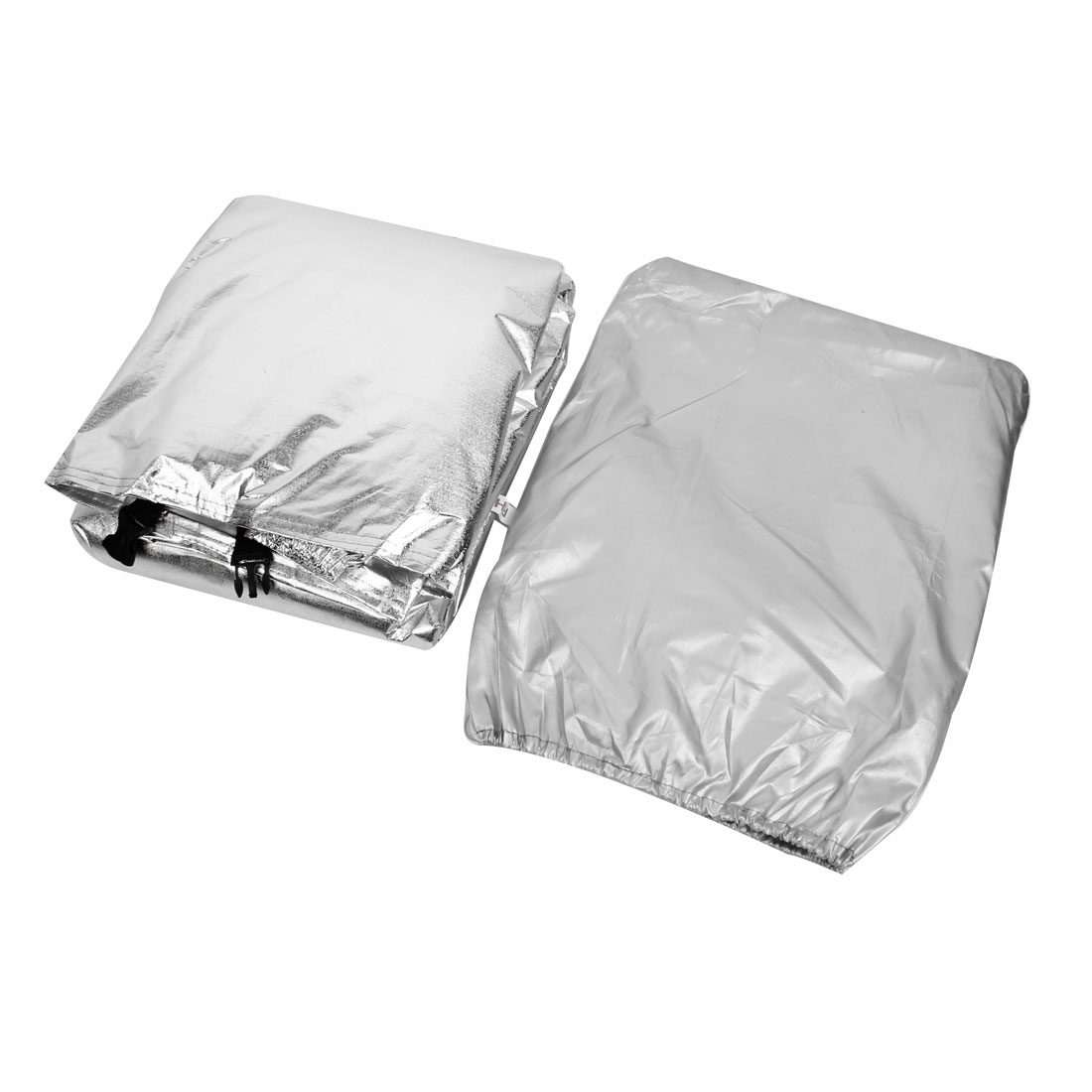 Silver Tone Waterproof Aluminum Foil Elasticated Motorcycle Cover 295cm Long