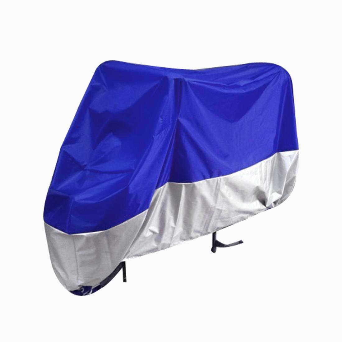 Motorcycle Motorbike Dust Resistant Waterproof Cover Protector Silver Tone Blue
