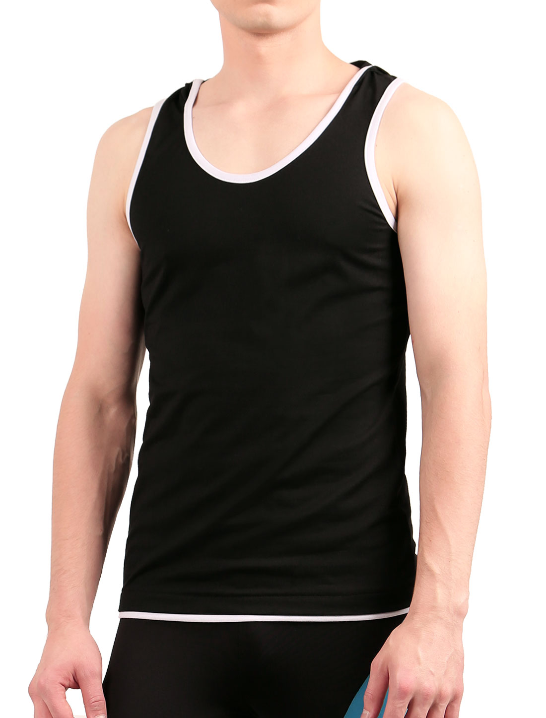 Men Summer Sleeveless Piped Detail Stretch Hooded Tank Top Black S
