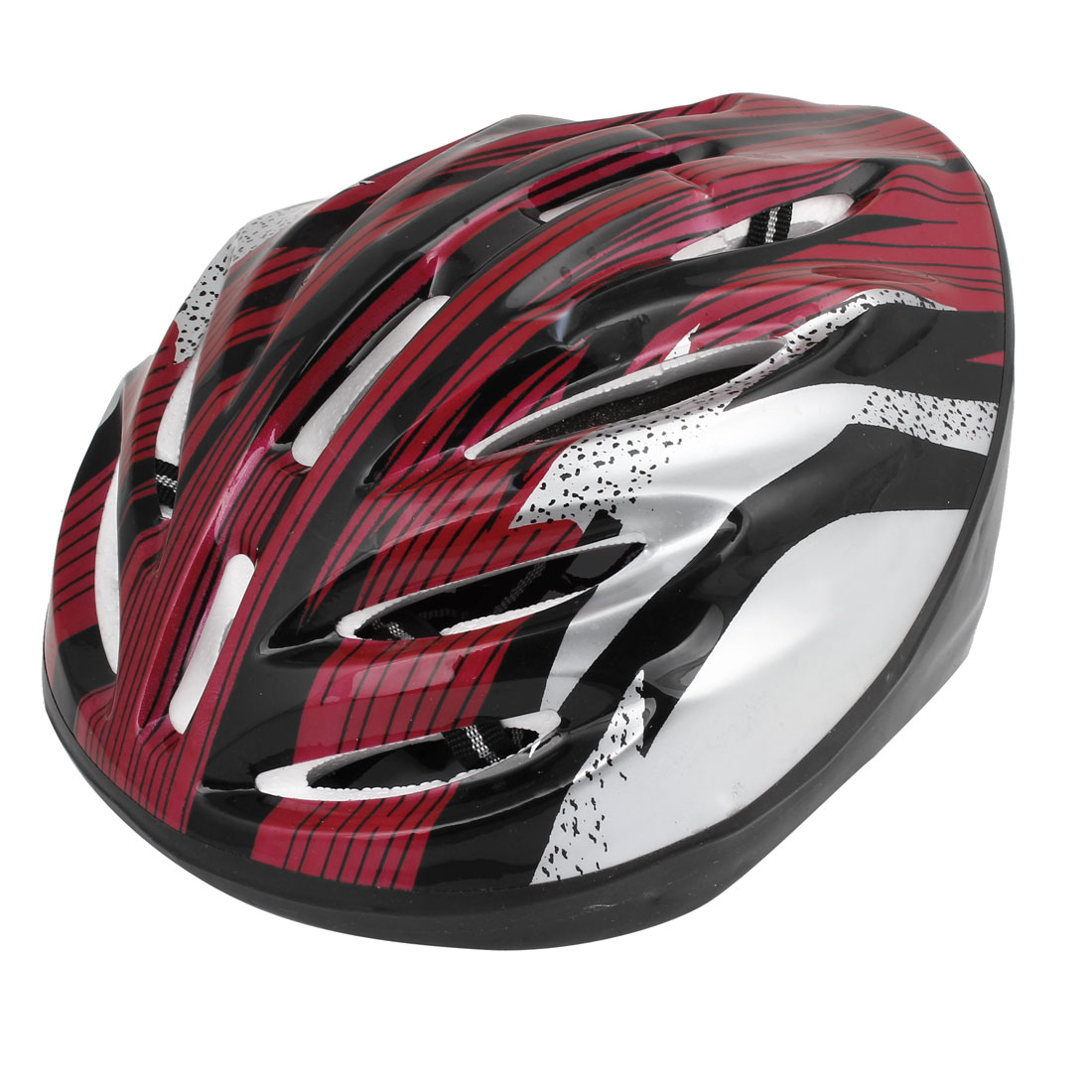Bicycling Skateboarding Stripes Print Foam Lining Safety Helmet Black Red