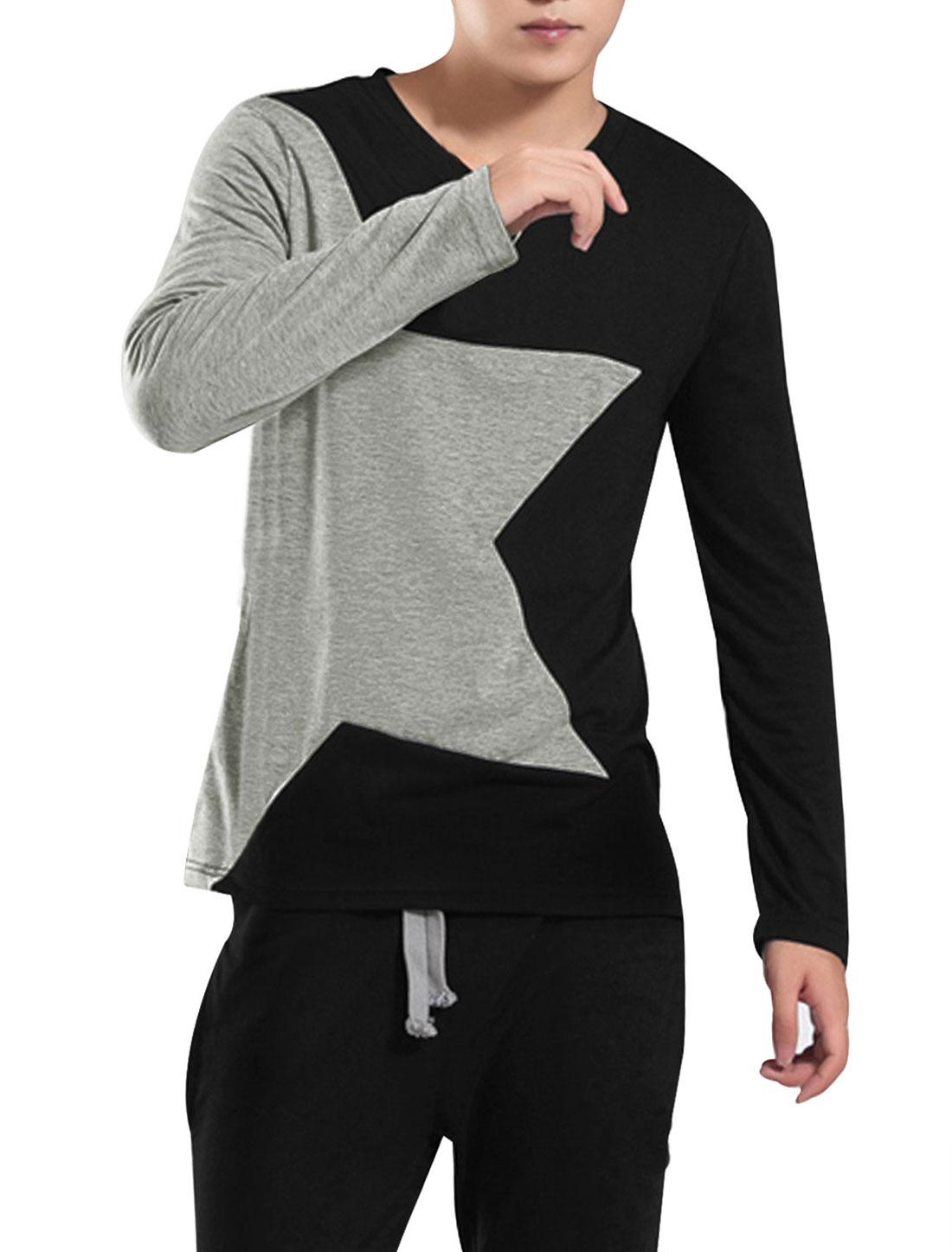 Autumn Slim Pullover Two-Tone Shirt for Men Black Light Gray M