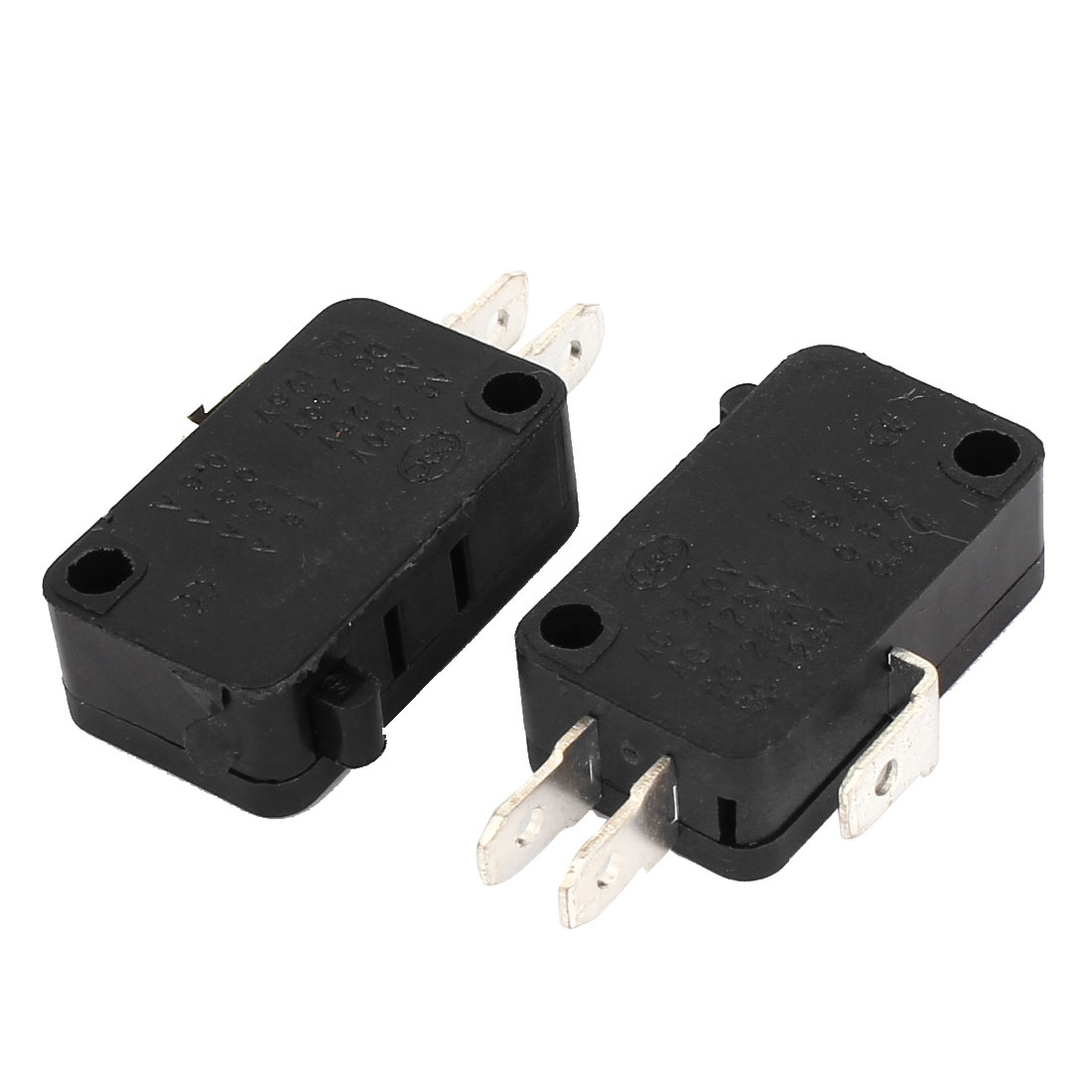 2Pcs SPDT 3-Pin 1NO+1NC Memontary Push Button Actuator Rectangle Black Micro Limit Switch AC 250V 15A