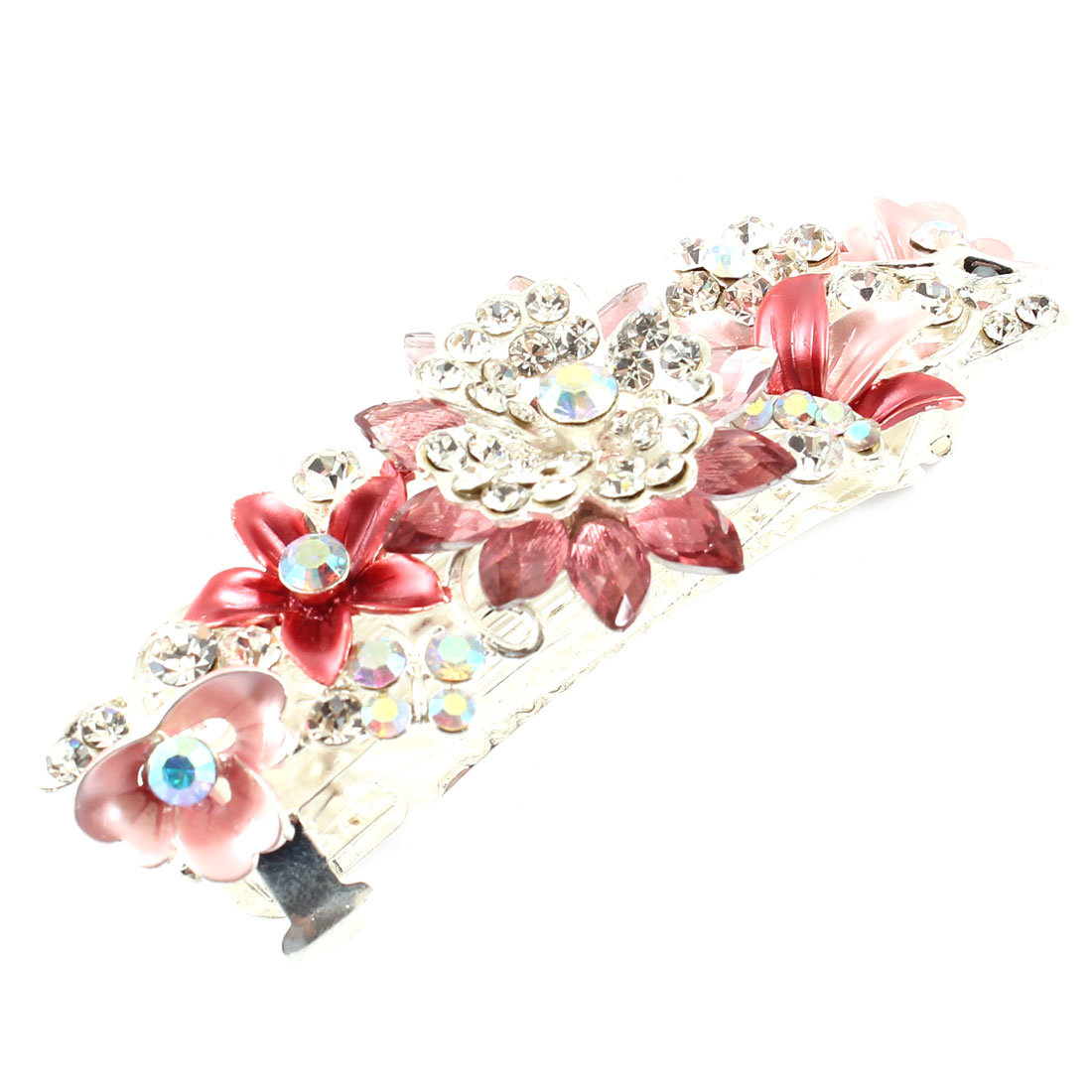 SIlver Tone Metal French Clip Rhinestone Decor Red Pink Flower Hairclip Barrette