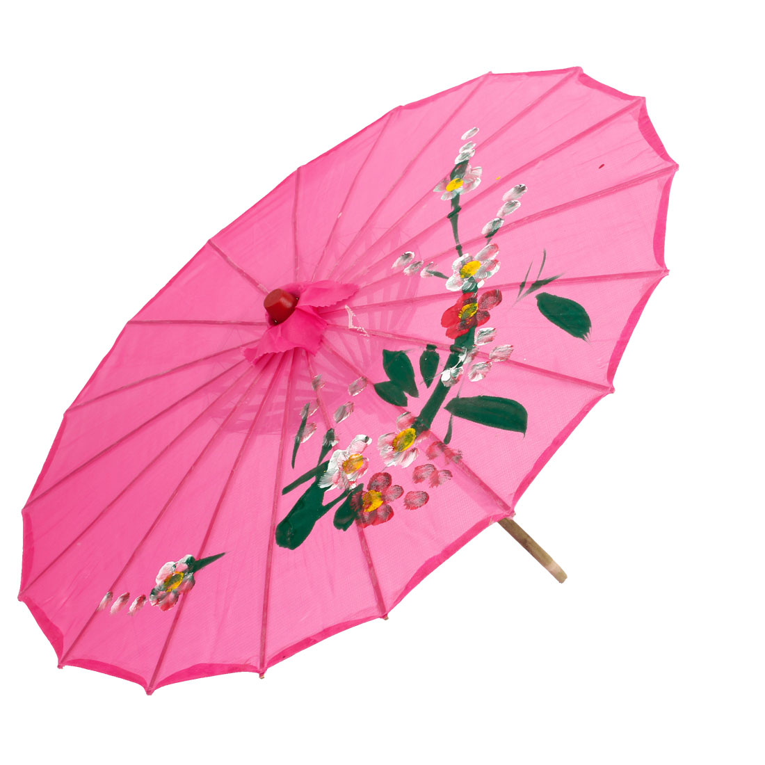 Flower Pattern Fushcia Cover Bamboo Foldable Dance Umbrella Parasol