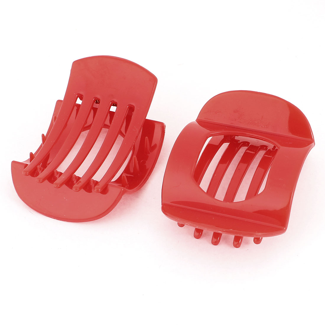 2Pcs Hairstyle 5 Teeth Cut Out Middle Spring Loaded Plastic Hair Clip Claw Red for Lady