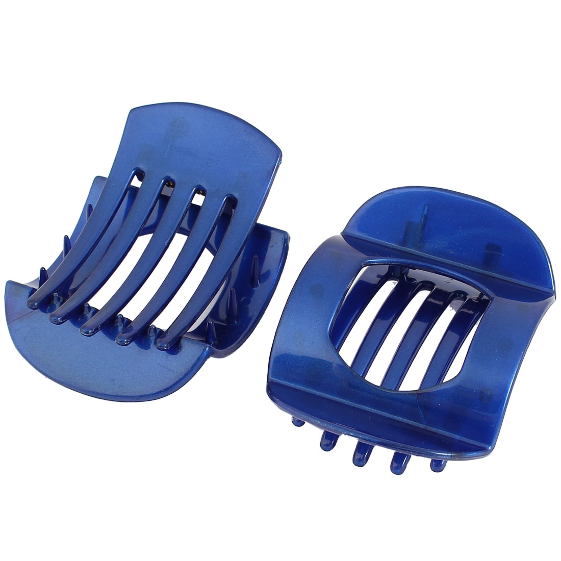 2Pcs Hairstyle Teeth Design Cut Out Middle Spring Loaded Hairclip Claw Clamp Dark Blue for Women