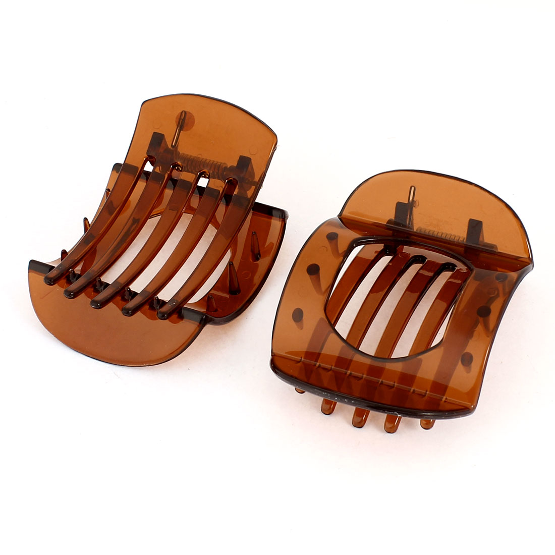 2 Pcs Headdressing 5 Teeth Hollow Out Middle Spring Loaded Brown Plastic Hair Clip Claw for Women