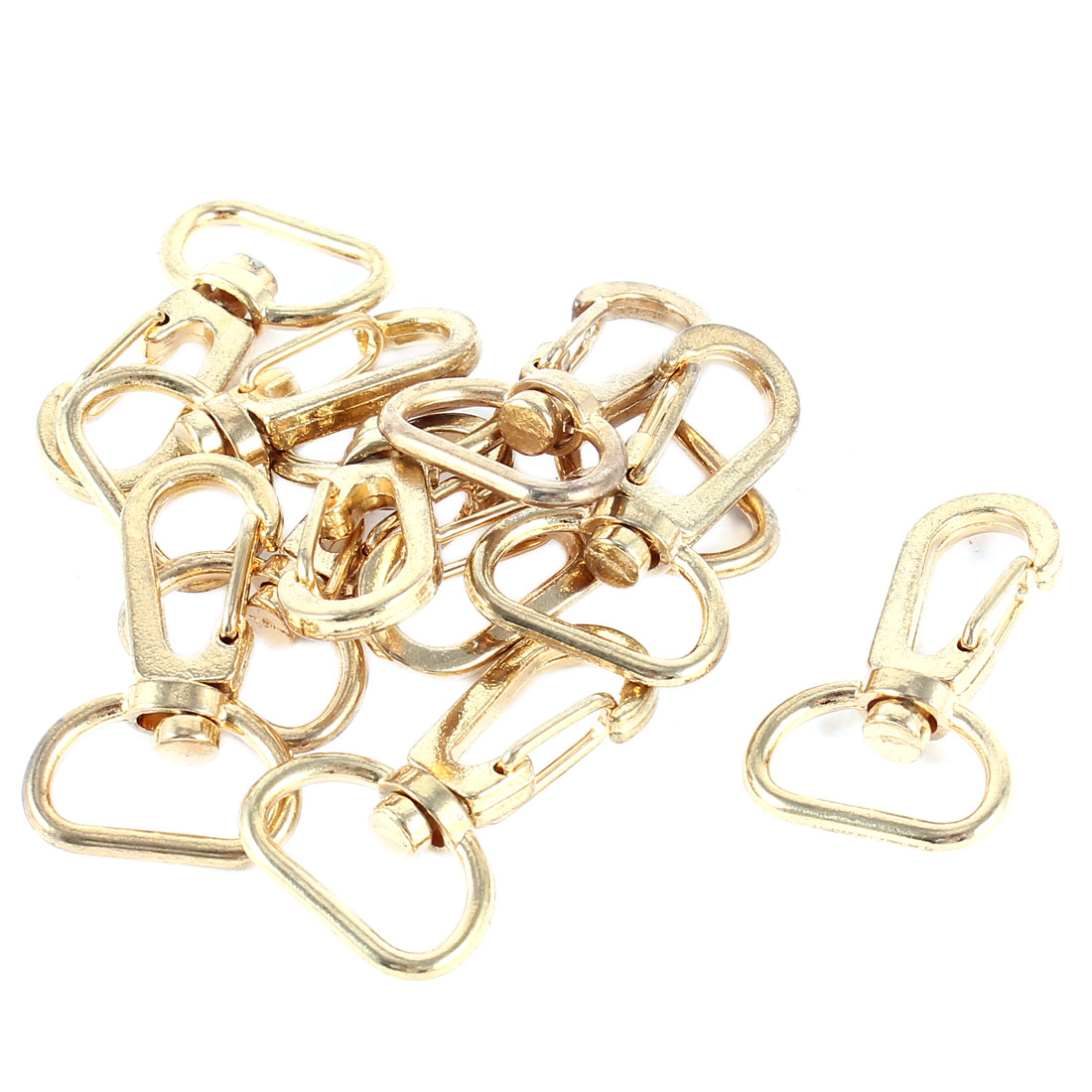 10 Pcs Swivel Lobster Buckle Design Spring Clip Gold Tone Metal Keychain Key Ring