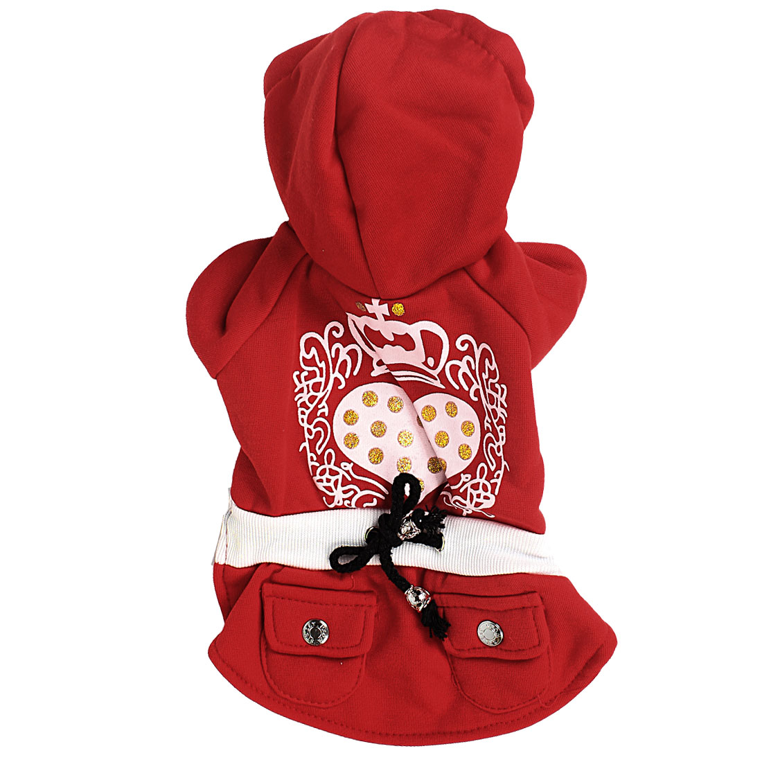 Winter Warm Sleeved Hoodie Pet Dog Pug Doggy Apparel Coat Clothes Red White Size M