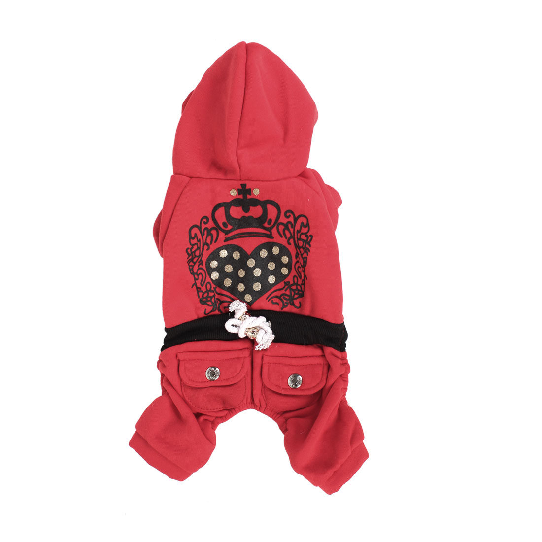 Winter Warm Sleeved Hoodie Pet Dog Yorkie Apparel Coat Clothes Red Black Size M