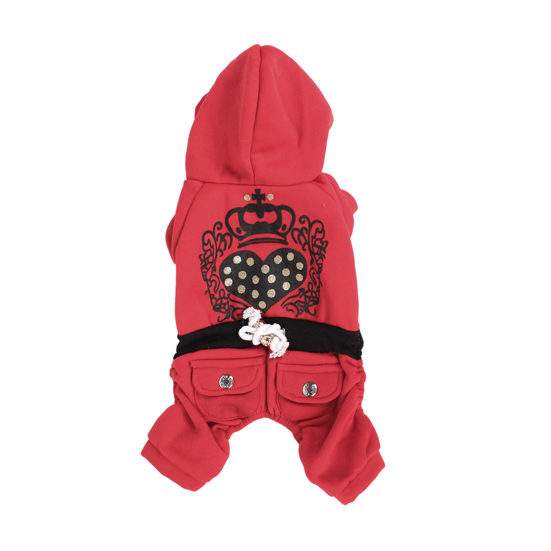 Winter Warm Sleeved Hoodie Pet Dog Poodle Apparel Coat Clothes Red Black Size L