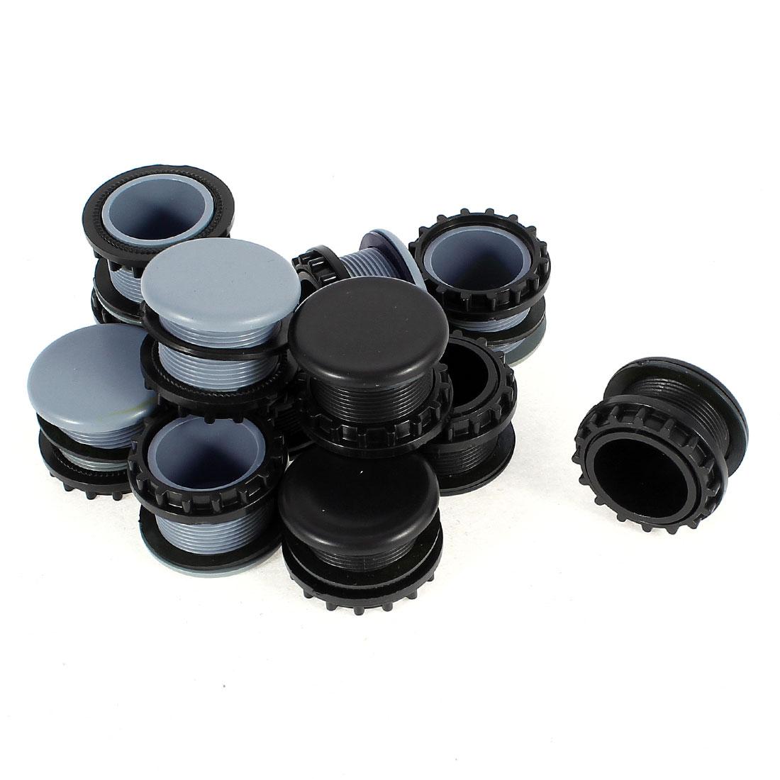 12 Pcs Black + Gray Plastic Push Button Switch 22mm Mount Hole Panel Plug Cover Cap