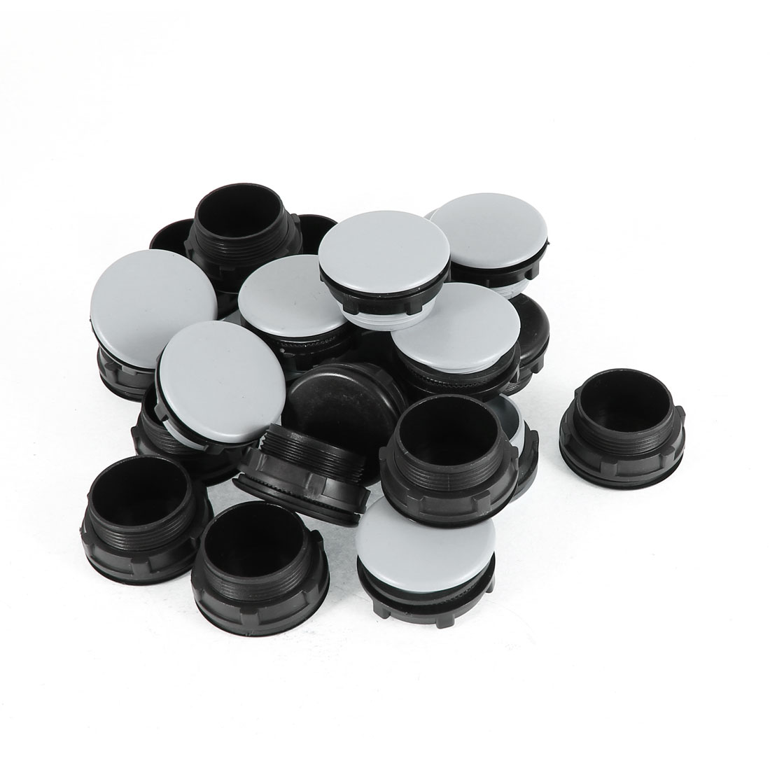 24 Pcs Black + Gray Plastic Push Button Switch 30mm Mount Hole Panel Plug Cover Cap