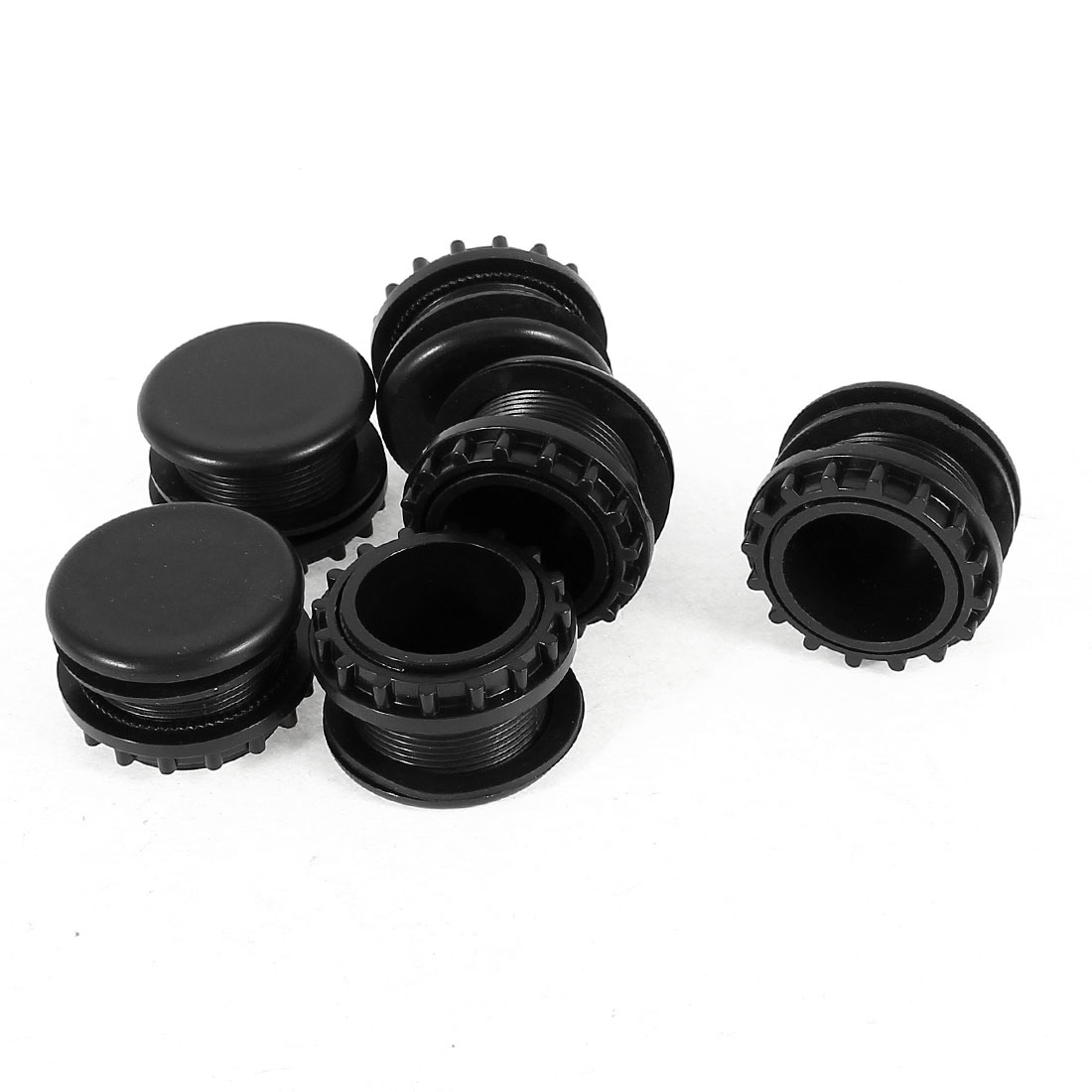 6 Pcs Black Plastic Push Button Switch 22mm Mount Hole Panel Cover Cap