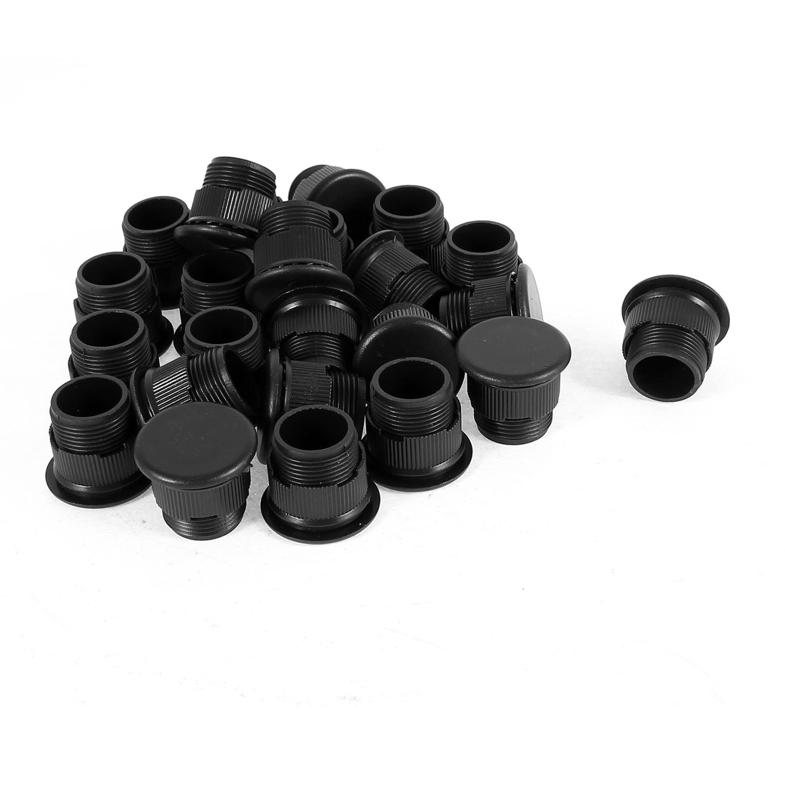 24 Pcs Black Plastic Push Button Switch 16mm Mount Hole Panel Plug Cover Cap